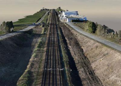 3D model van een 10km lange spoorwegwerf